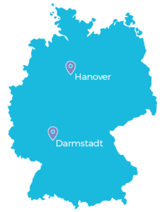 Germany map: Our cloud locations in Darmstadt and Hanover