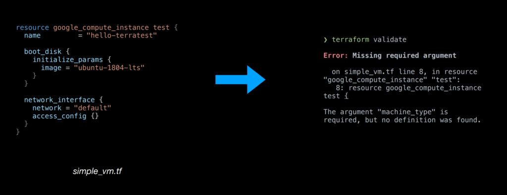 """Example of a Terraform Error Message: Missing required argument. The argument """"machine_type"""" is required, but no definition was found."""