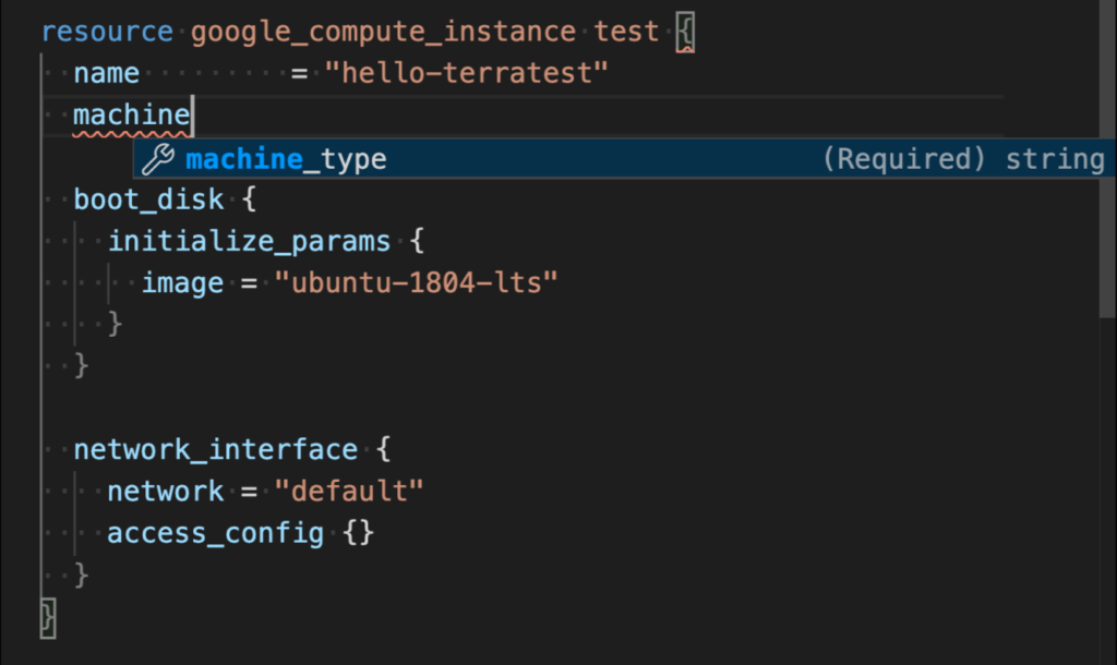 Screenshot showing the terraform autocomplete feature in VSCode.