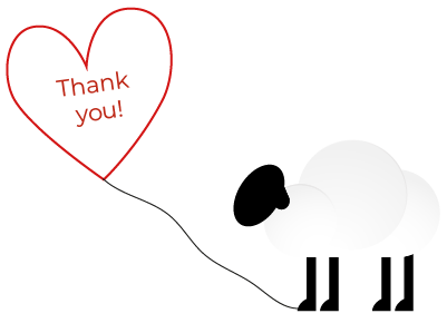 Sheep with Thank You Balloon