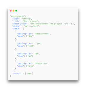 A code example that shows tag definition in meshcloud.